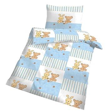 Biber Baby Bettwäsche Teddy Bär Und Hase Weiß Hell Blau 100x135 Cm