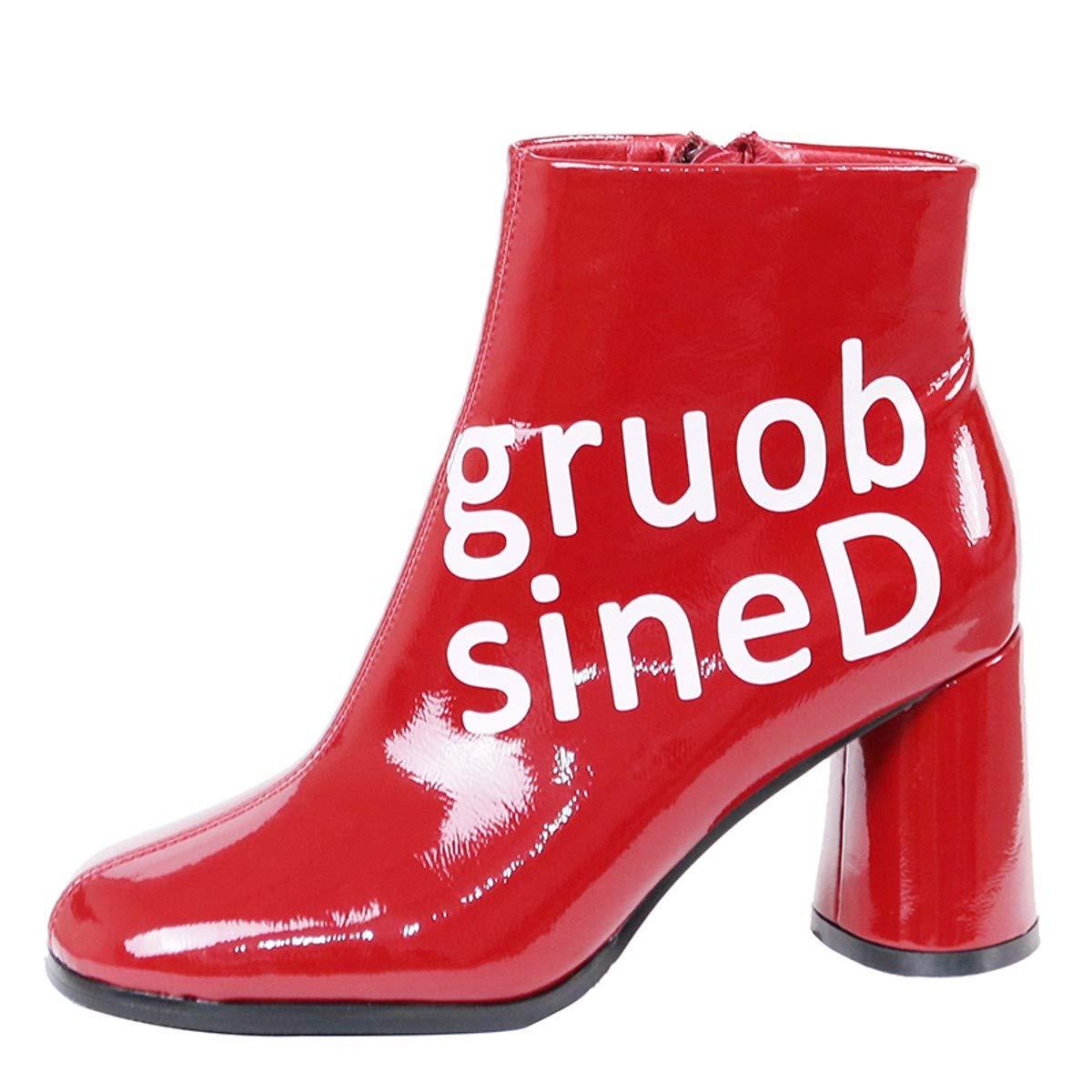 Gules Thirty-eight HBDLH Chaussures pour Femmes La Tête Ronde avec Grande 8Cm Rugueux Et Talon Haut à La Mode Joker Lettre Côté Zipper Bottes Martin Bottes.