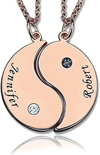 Yin Yang Necklace Sterling Silver Engraved Yin Yang 2 Pieces Necklaces Custom Made With 2 Names 18k Rose Gold 22 55cm Rose Gold22 0 Inches Amazon Co Uk Jewellery