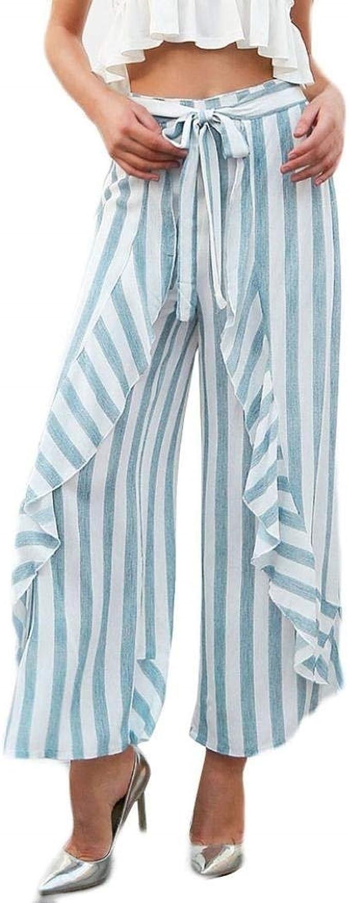 Battercake Falda Pantalon Mujer Largo Verano Elegante Flecos ...