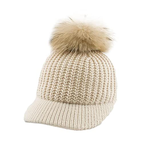 478534ed286 FuzzyGreen Beige Women  s Pompom Beanie Visor Hat