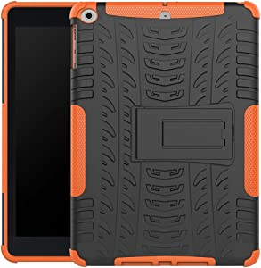 GUOQING Tablet PC Case Bag Sleeves Tablet Cover for iPad 9.7 2017/2018/iPad 5/iPad Air Tire Texture Shockproof TPU+PC Protective Case with Folding Handle Stand (Color : Orange)