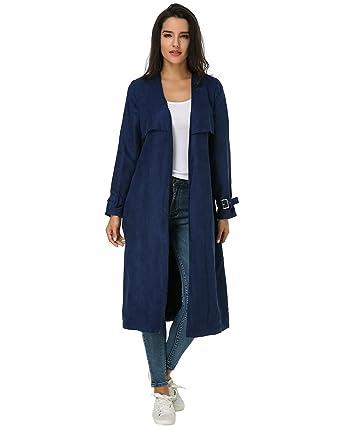 more photos 58087 22f36 Kidsform Damen Knielange Elegant Mantel Langarm Trenchcoat ...