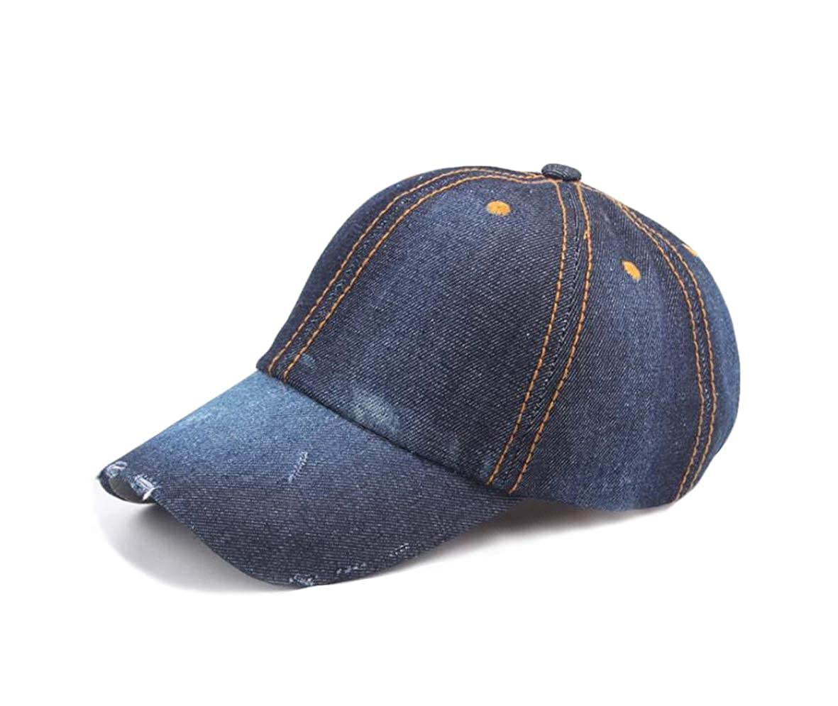 055ca97596035 YAKER Vintage Washed Denim Cotton Sports Baseball Cap for Women and Men at  Amazon Men s Clothing store