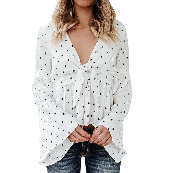 45069b17257 Mymyguoe Camiseta de Manga de Mariposa con Cuello en V para Mujer Camiseta  con Estampado de Lunares en Blusa y Top para Mujer Otoño E Invierno:  Amazon.es: ...