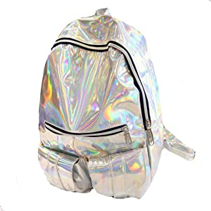 Van Caro Holographic Leather Backpack Schoolbag Laser Daypack for Women Girls (Silver)