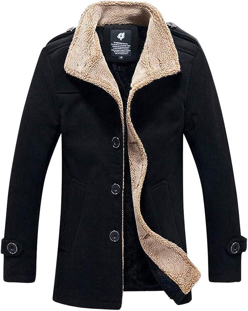 Mens Puffer Jacket with Hood Packable Mens Autumn Winter Outdoor Warm Thickened Jacket Fleece Coat Jacket Top Blouse
