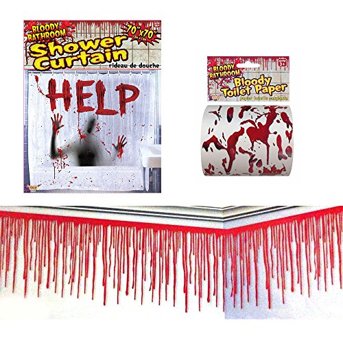 02 Bloody Bathroom Halloween Decorating kit, Bloody Shower Curtain, Bloody Toilet Paper and Bloody Wall Border -
