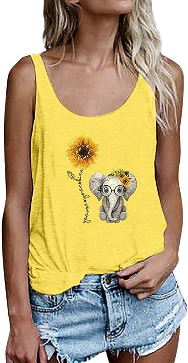 Luckycat Camisetas de Mujer Manga Corta Girasol Elefante Impresión Blusa Basica Camiseta Suelto Casual Verano T Shirt Cuello Redondo Camisa Tops Mujer 2019 Verano Camisa de Fiesta Sexy Tops de Playa: Amazon.es:
