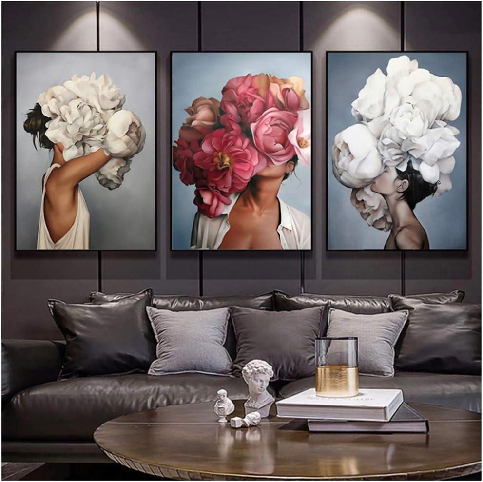 Cartel de lienzo abstracto moderno Flores Mujer Arte de la pared Pintura Carteles e impresiones de plumas Cuadros de pared para la decoración de la sala de estar 50x70 cm / 19.7