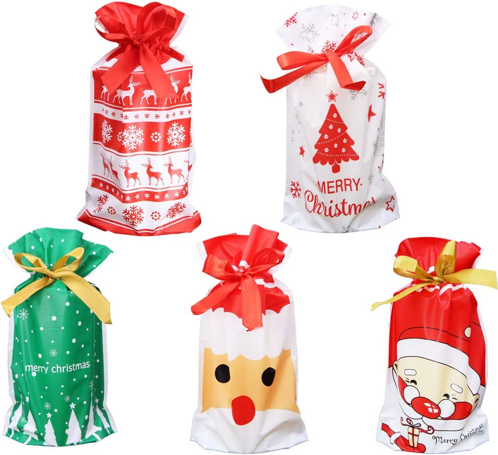 50 Pcs Christmas Treat Bags with Drawstring,9.5 inches Candy Bags Santa Claus Christmas Tree Elk Snow Food Storage Bags Gift Wrapping Package Bags for Party Favor