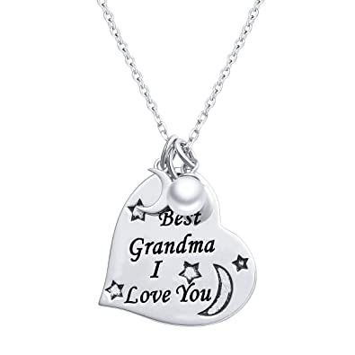 dd80550ea S925 Sterling Silver Grandmother Jewelry I Love You Grandma Necklace Heart  Pendant with Chain 18""