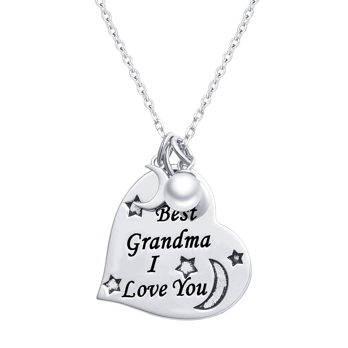 S925 Sterling Silver Grandmother Jewelry Gifts I Love You Grandma Necklace Heart Pendant with Chain 18''