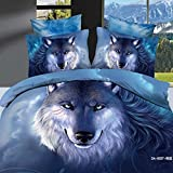 Lt Queen King Size 100% Cotton Fitted Sheet Set with Rubber Around 4-pieces 6-pieces 3d Big Blue Wolf Head Animal Boys Men Prints Duvet Cover Set/bed Linens/bed Sheet Sets/bedclothes/bedding Sets/bed Sets/bed Covers/5-pieces 7-pieces Comforter Sets/bed in a Bag (Queen, 7pcs with comforter)