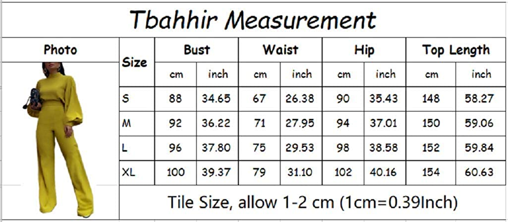 Tbahhir Womens Elegant Puff Long Sleeve High Neck Rompers High Waisted Office Lady Jumpsuit One Piece Outfits