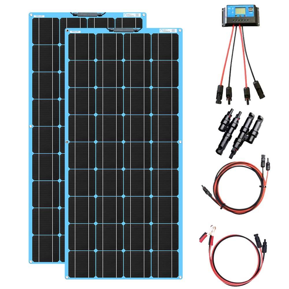 XINPUGUANG 200W kit de Panel Solar 2pcs 100w módulo monocristalino flexible 20A controlador para automóvil, embarcaciones, marina, autocaravana, caravanas, batería de 12v (Azul)