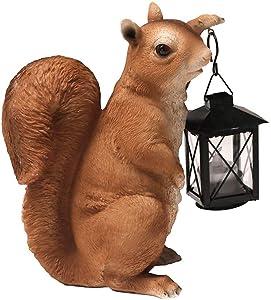 Nature's Rhythm Woodland Squirrel Kerosene Lamp Outdoor Garden Statue Little Squirrel Ornaments Garden Decoration, 10.2 Inch, Full Color