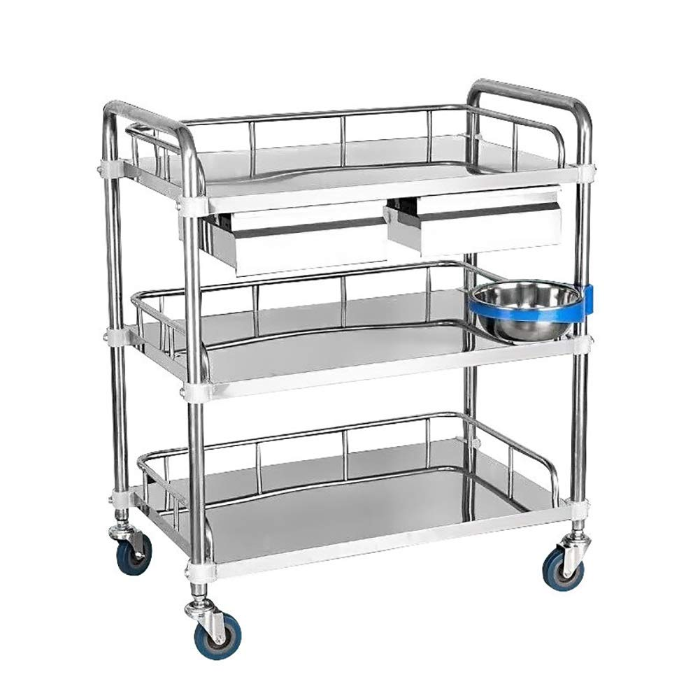 3 Layers Stainless Steel Medical Equipment Trolley, Beauty Salon Tool Carts Treatment Vehicles, 80×48×86cm (Color : Double Drawers)
