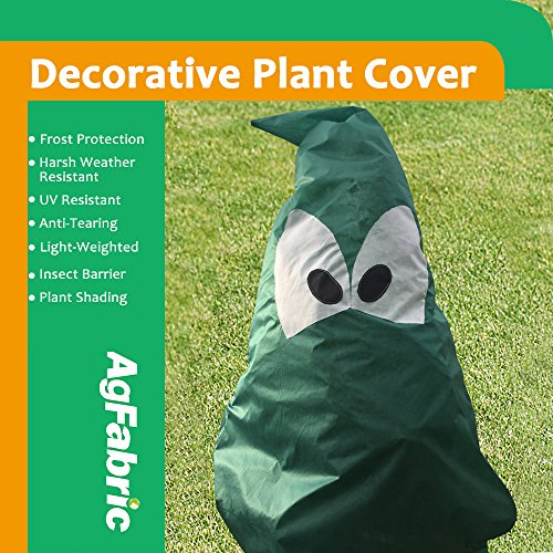 "Agfabric Plant Cover Warm Worth Frost Blanket – 1.5 oz Fabric of 63""Hx51""W Shrub Jacket, Decorative Plant Cover for Season Extension&Frost Protection, Dark Green"