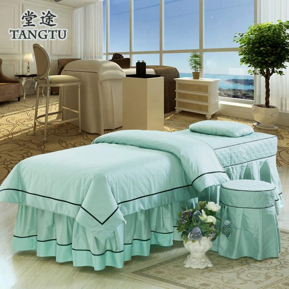 純粋な色 綿 美容 ベッド カバー,北欧スタイル マッサージ テーブル シート セット タトゥー ベッドスカート ベッドカバー 寝具カバー-シアンブルー B07S638BZ5