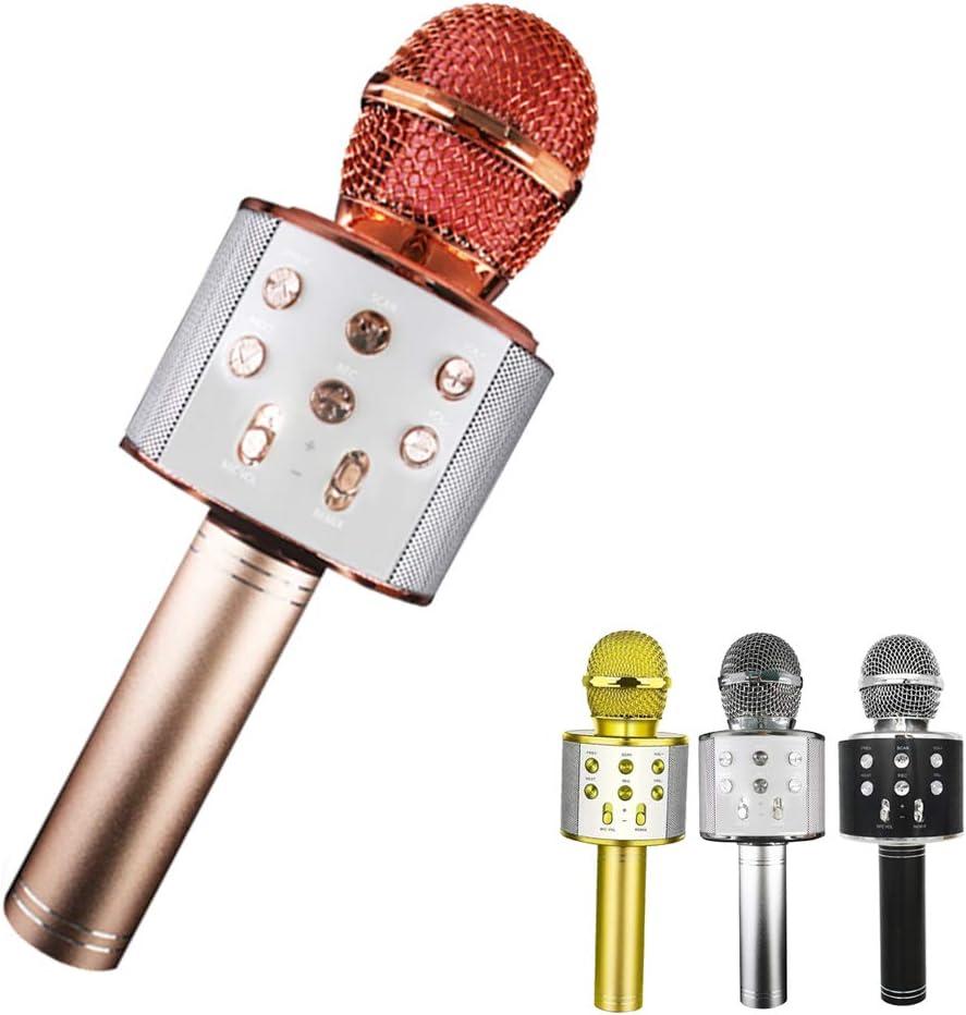 NFJYMicrófono Karaoke Bluetooth, 4 en1 Microfono Inalámbrico Portátil con Luces LED para Niños Canta Partido Musica, Función de Eco, Compatible con Android, PC/iPhone/Androide(Oro rosa)