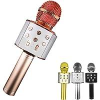NFJYMicrófono Karaoke Bluetooth, 4 en1 Microfono Inalámbrico Portátil con Luces LED para Niños Canta Partido Musica…
