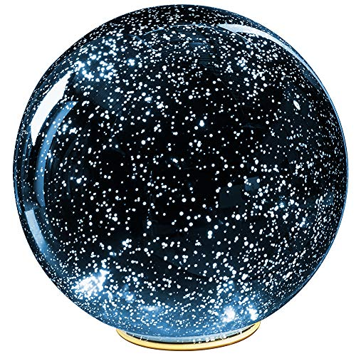 SIGNALS Lighted Mercury Glass Ball Sphere for Holiday Home Decor - Battery Operated - Blue - Large ()