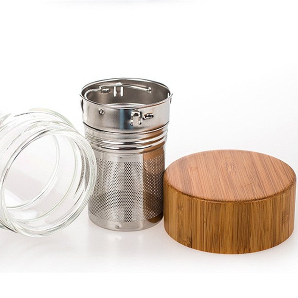 Perfect for Fruit Dajour with High Quality Stainless Steel Loose Leaf Strainer and Neoprene Sleeve Tea Fruit Infuser Water Bottle Glass Tumbler with Bamboo Lid