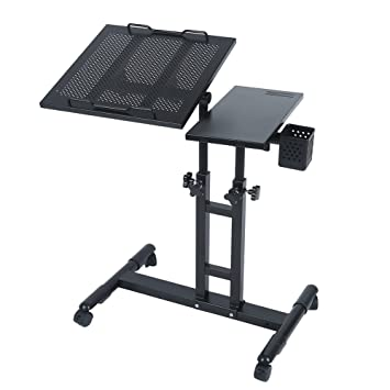 Adjustable Height Rolling Laptop Desk Table Computer Desk Over Sofa Bed  Table Tattooing Work Cart (