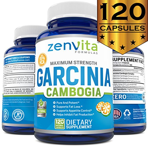 Pure Garcinia Cambogia Extract 95% HCA - 120 Capsules - Non-GMO & Gluten Free, Highest Potency, KETO Diet Pills, Maximum Strength Natural Weight Loss Supplement for Men and Women