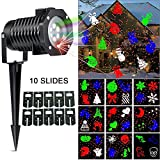 Ucharge Christmas Laser Light, [Newest Version] Snowflake Led Landscape Spotlight 10 Slides Sparkling Laser Light Show Rotating Outdoor Projection Lights for Holiday, Christmas Decoration, Multi