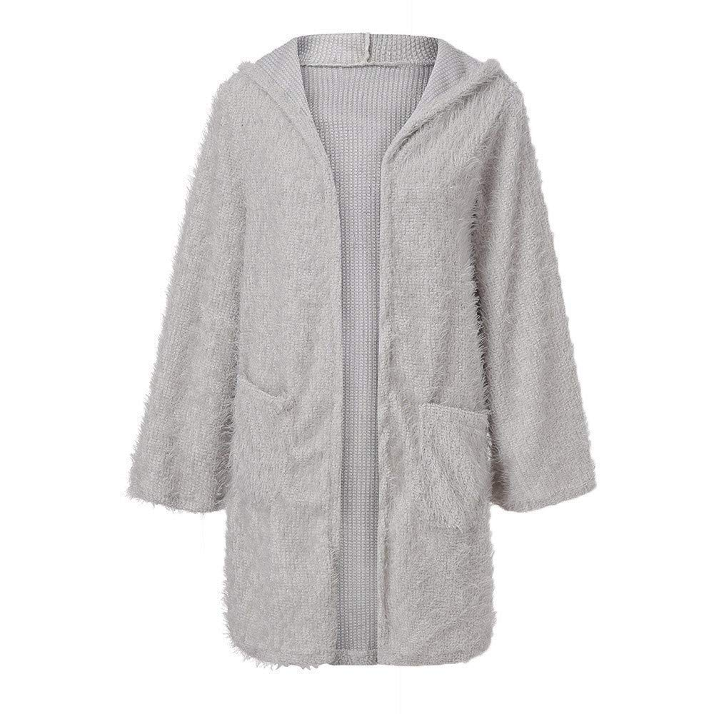 Qiusa Womens Knit Cardigan Pocket Outwear de Manga Larga con ...