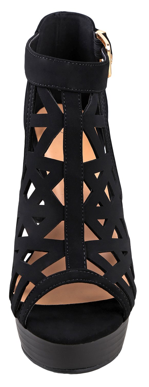 Top Moda Strap Platform Sandal Black B07BHRDC21 10 B(M) US|Black