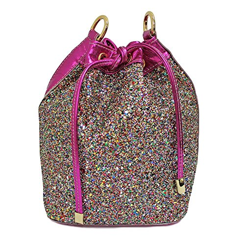 Borsa donna Collezione Argento Antico by Laino Industry fashion accessories - Borsa in pelle sacchetto con glitter e bordo fucsia