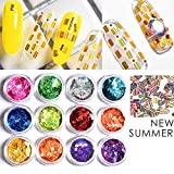 quick dry for nails spray - 12Color Round Sequins Dazzling Sticker Colorful Nail Art Decoration