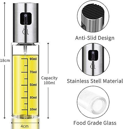 Baking Sunlier Olive Oil Sprayer For Cooking Refillable Oil and Vinegar Dispenser Bottle with Basting Brush For BBQ Oil Sprayer Roasting and Grilling. 90mL Cooking