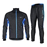Fleeced Jacket Set Warm Up Windproof Windbreaker Breatheable Cycling Set MTB Road Racing Clothes Blue L