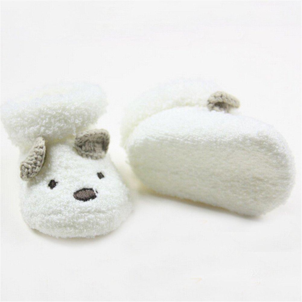 Swovo Newborn Socks Soft Lovely Cartoon White Bear Crew Socks for 0-6M Babies