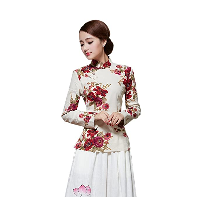 YueLian Mujeres Blusa de Verano Diaria De Manga Larga Retro Patrón Flores Cheongsam de Camisa (