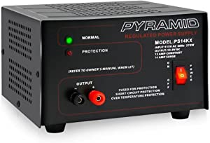 Universal Compact Bench Power Supply - 12 Amp Linear Regulated Home Lab Benchtop AC-to-DC 12V Converter w/ 13.8 Volt DC 115V AC 270 Watt Power Input, Screw Type Terminals, Cooling Fan - Pyramid PS14KX, BLACK