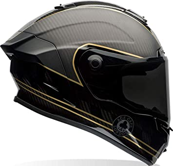 Amazon.es: Bell 7069592 Casco para Moto Racestar Speed Check, Negro Mate/ Dorado, M