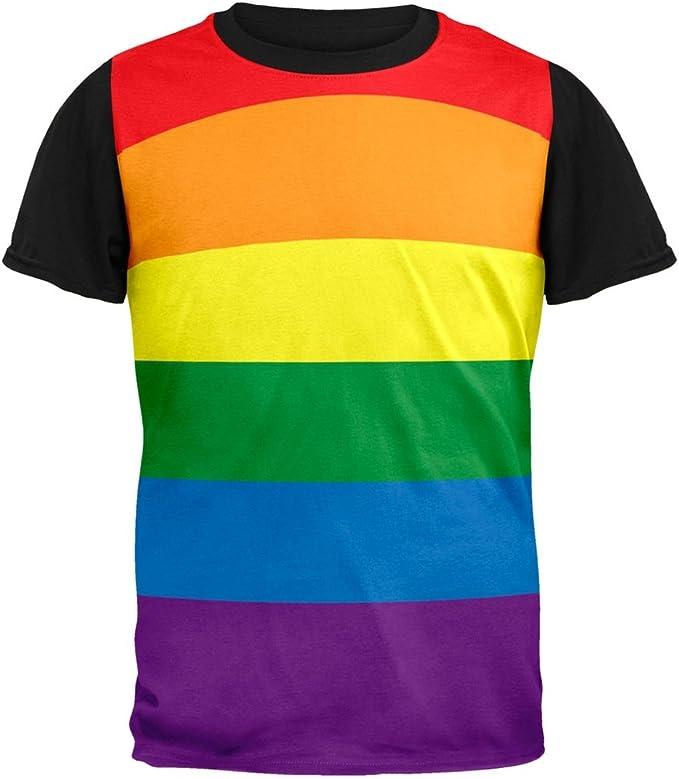LGTB Arco Iris Orgullo Gay Bandera Adulto Espalda Camiseta Negra-X ...