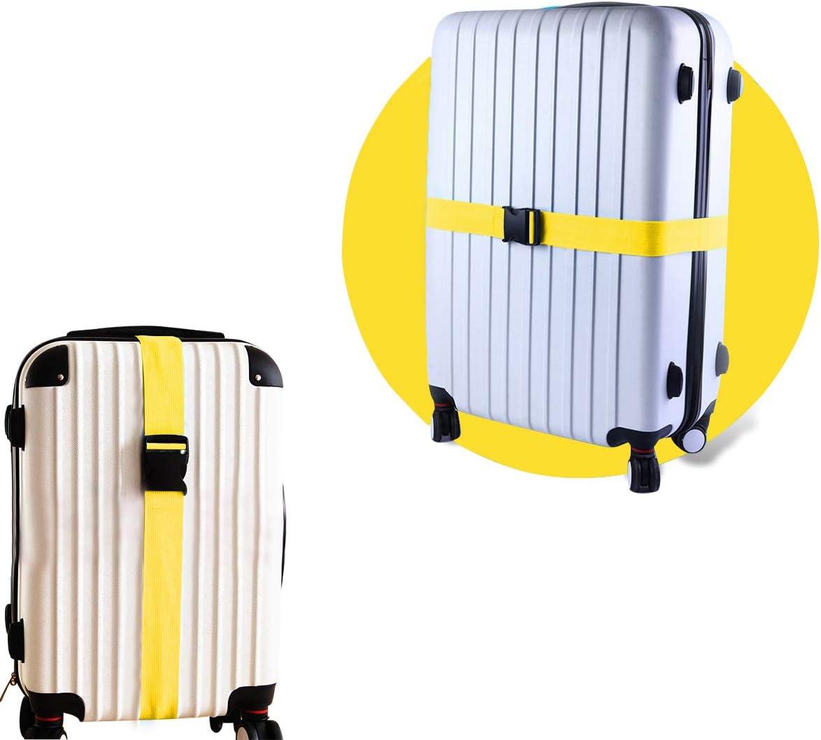 Lot de 2 Sangle de Bagage Ceinture de Valise r/églable et /étiquettes de t/él/éphone Couleur Jaune Accessoires de Bagages de Voyage