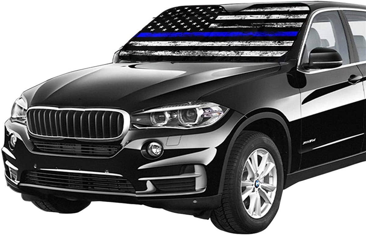 MSGUIDE Thin Blue Line American Flag Front Windshield Shade Sunshade for Car Truck SUV-Blocks UV Rays Sun Visor Protector-Keeps Your Vehicle Cool-58 x 28 Inch