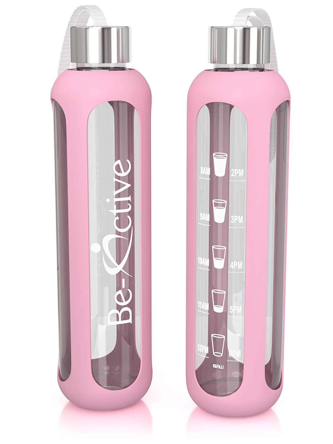 Be-Active Glass Motivational Water Bottle 1 Litre with Times to Drink Hydrate BPA Free 1l