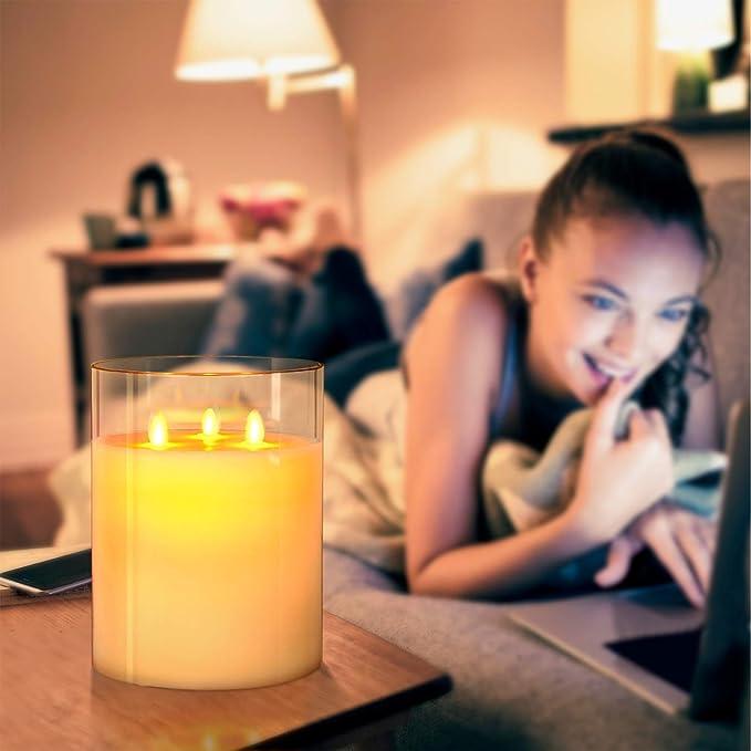 Aku Tonpa 3 Dochte 15 x 20 cm Flammenlose Kerzen Batteriebetrieben Stumpen Echtwachs Flackernde LED Glas Kerzen mit Fernbedienung Radfahren 24 Stunden Timer