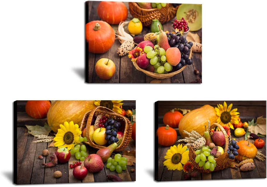 3 Piece Kitchen Canvas Wall Art Fruits Food Flowers Picture Print Pumpkin Painting Autumn Harvest Photo Framed for Dining Room Restaurant Modern Home Wall Decor Artwork 16