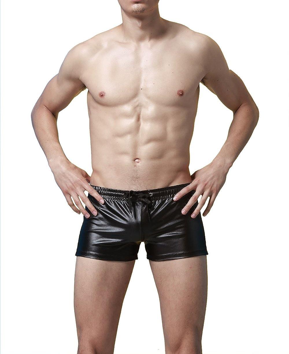FR Mens Faux Leather Insurgent Swimwear Trunks Boxer Shorts Underwear Black Medium FR074B-Mpineiku