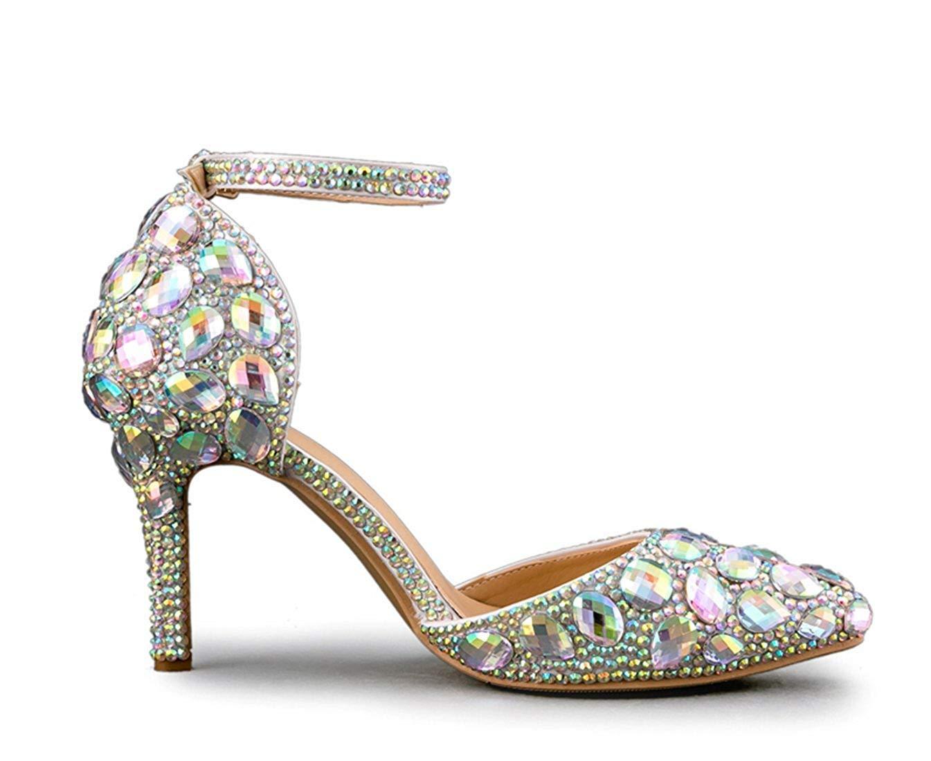 Qiusa Damen Funkelnde Knöchelriemen Silber Braut Hochzeit Schuhe Schuhe Schuhe mit Kristallen Rhinestons UK 2.5 (Farbe   - Größe   -) 9a2ef3