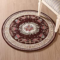 KEYAMA Round Diameter 3FT Acrylic Non-Slip Carpet Stair Treads Thicken Rectangle Jacquard parlor floral Area Rugs Classical doormats Stair corner matching landing carpet mats 059 Brown